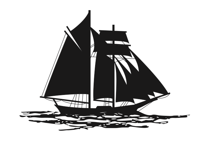 Silhouette of a schooner topsail